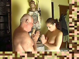 big tits with old man